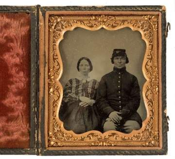 Tin Type of Civil War Soldier and Wife