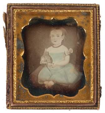 Daguerreotype of Painting of Child Holding Toy Cat