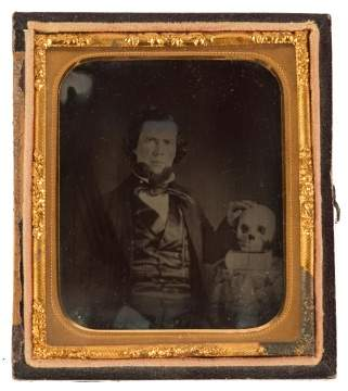 Ambrotype of Seated Gentleman and Skull