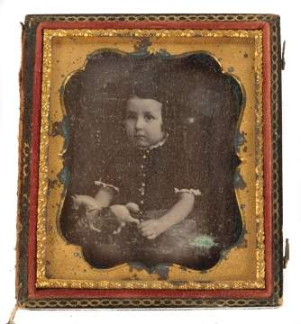 Daguerreotype of Young Child with Tin Pull Toy