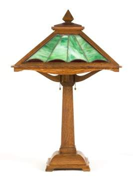 Arts & Crafts Quarter Sawn Oak & Leaded Glass  Table Lamp