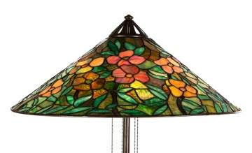 Signed Handel Floor Lamp with Leaded Glass Floral  Shade