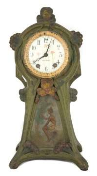 Seth Thomas Art Nouveau Patinaed Metal Shelf Clock