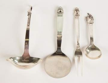 Four Danish Sterling Serving Pieces