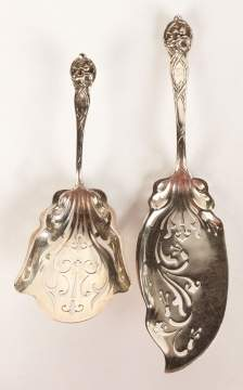 Two Sterling Serving Pieces with Morning Glories