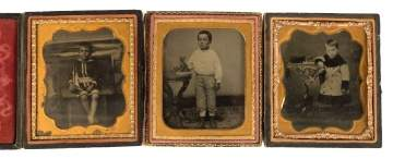 Three Tin Types of Children with Toys