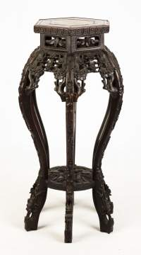Carved Chinese Hardwood Stand with Roux Marble