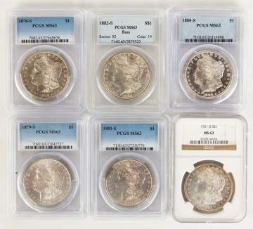 Six Graded Morgan Silver Dollars