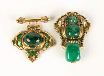 Two 14K Gold Art Nouveau Brooches