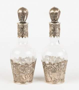 Pair of Silver Overlay Decanters