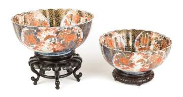 Nested Pair of Porcelain Imari Bowls
