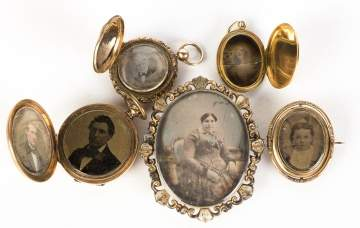 Group of Daguerreotype Brooches and Lockets