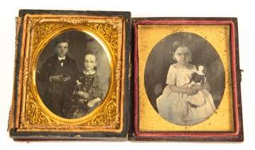 Two Daguerreotypes of Children with Dolls