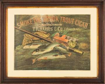 "Currier & Ives ""Smoke the Brook Trout Cigar"" Sign"