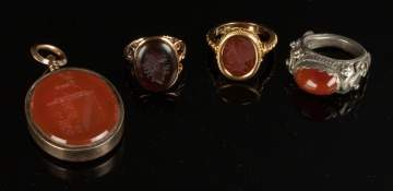 Group of Gold & Hardstone Rings & Pendant