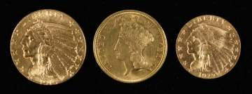 Group of American Indian Head Gold Coins