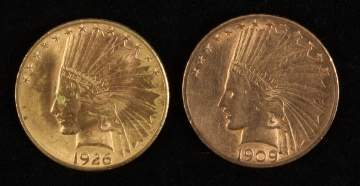 1906 & 1926 10 Dollar Indian Head Gold Coins