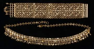 14K Gold Chinese Necklace and Bracelet