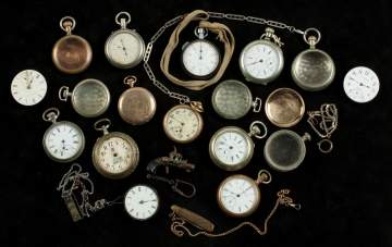 Group of Coin Silver and Gold Filled Pocket  Watches, Dials & Cases