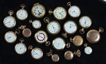 Group of Gold Filled and Plated Pocket Watches