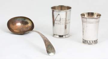 Two Silver Beakers & Spoon