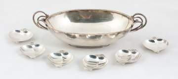 C.C. Herman, Denmark Sterling Silver Bowl & Six  Tiffany & Co. Sterling Nut Dishes