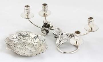 Peruvian Art Nouveau Floral Sterling Silver Candle  Holder & International Sterling Maple Leaf Nut  Dish