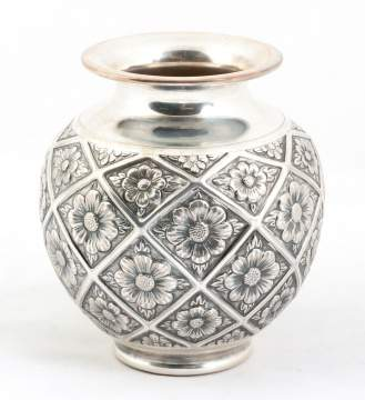 Peruvian Sterling Silver Floral Vase