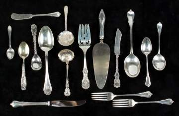 Group of Wallace, Theodore B. Starr, Repousse  Sterling Silver Flatware