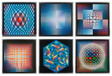 Six Victor Vasarely (French/Hungarian, 1908–1997) Prints and Book