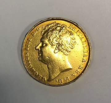 1823 British Sovereign Gold Coin, George IV with  Gold Chain & Fob