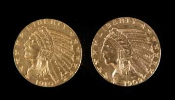 1909 & 1910 Five Dollar Indian Head Gold Coins