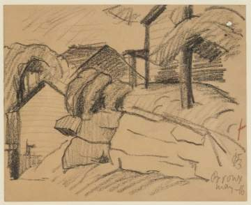 Oscar F. Bluemner (German/American, 1867–1938)  View in the Bronx, NY Crayon Drawing