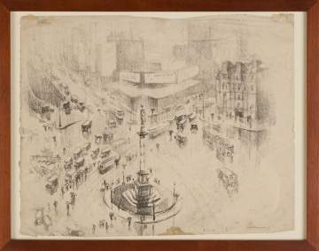 Margaret Lowengrund  (American,  1902–1957) Columbus Circle, NY Charcoal Drawing