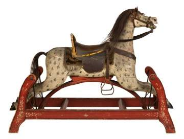 Carved & Painted Dapple Grey Rocking Horse