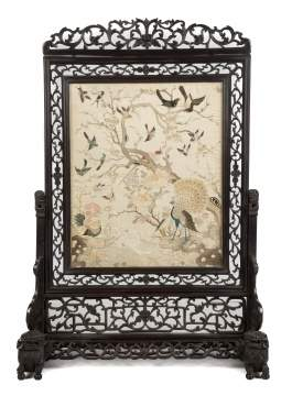 Fine Chinese Carved Hardwood Screen with Silk Embroidery