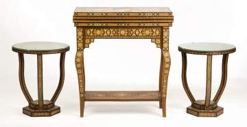 Indo-Persian, Syrian Marquetry Game Table and Side Tables