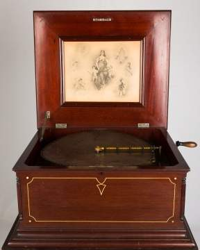Regina Double Comb Disc Music Box & Stand