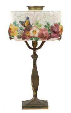 Pairpoint Puffy Rose & Butterfly Decorated Lamp with Square Shade