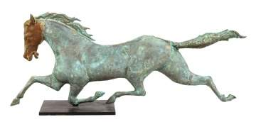 19th Century Copper Running Horse Weather Vain