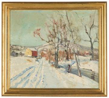 Walter Emerson Baum (American, 1884-1956) Winter Scene with Red Barn