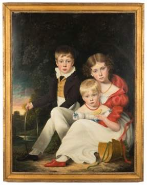 19th Century Family Portrait of Children & Bird