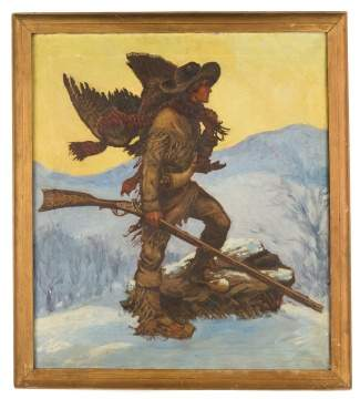 Conrad Dickel (American, 1894-1993) Hunter with Flint Lock Rifle and Turkey