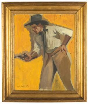 William Robinson Leigh (American, 1866-1955) Cowboy with Six Shooter