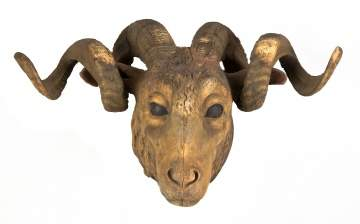 Carved & Painted Ram with Natural Big Horns