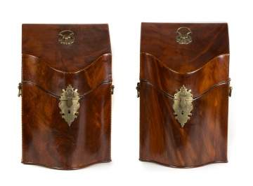 Pair of Inlaid Mahogany Knife Boxes