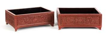 Pair of Chinese Cinnabar Lacquer Scholar Trays