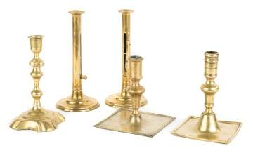 Group of Five Early Brass Candlesticks