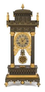 French Gothic Bronze Shelf Clock