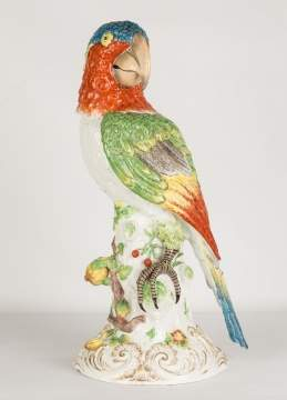 Monumental German Porcelain Parrot